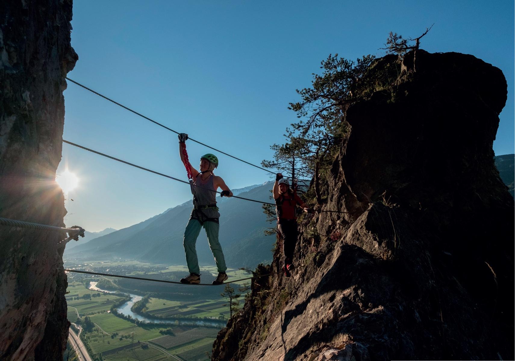 Die Seilbrücke am Geierwand Klettersteig © Bernd Ritschel