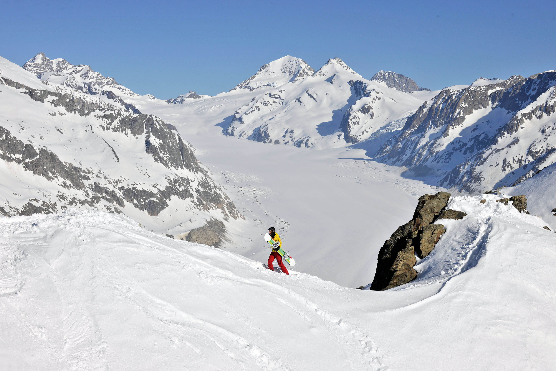Freeride überm Aletschgletscher © TVB Aletsch Arena
