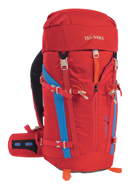 TATONKA CEBUS 35 Alpinrucksack mit Belüftungskanal am Rücken, versteckten Balgtaschen und abnehmbarem Hüftgurt. © Tatonka