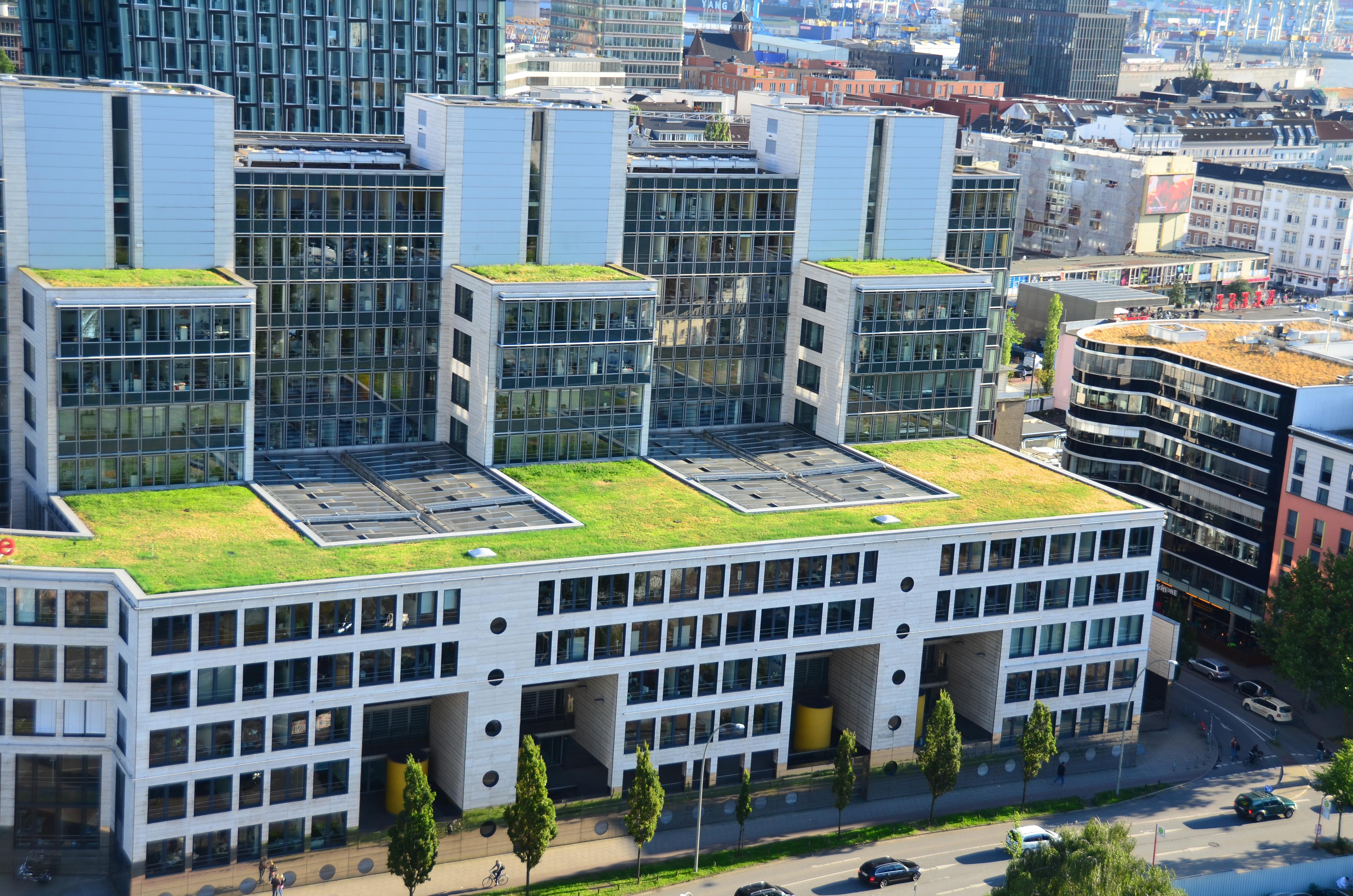 Grüne Dachflächen in der Simon-von-Utrecht-Straße, Hamburg ©  H. Soenksen