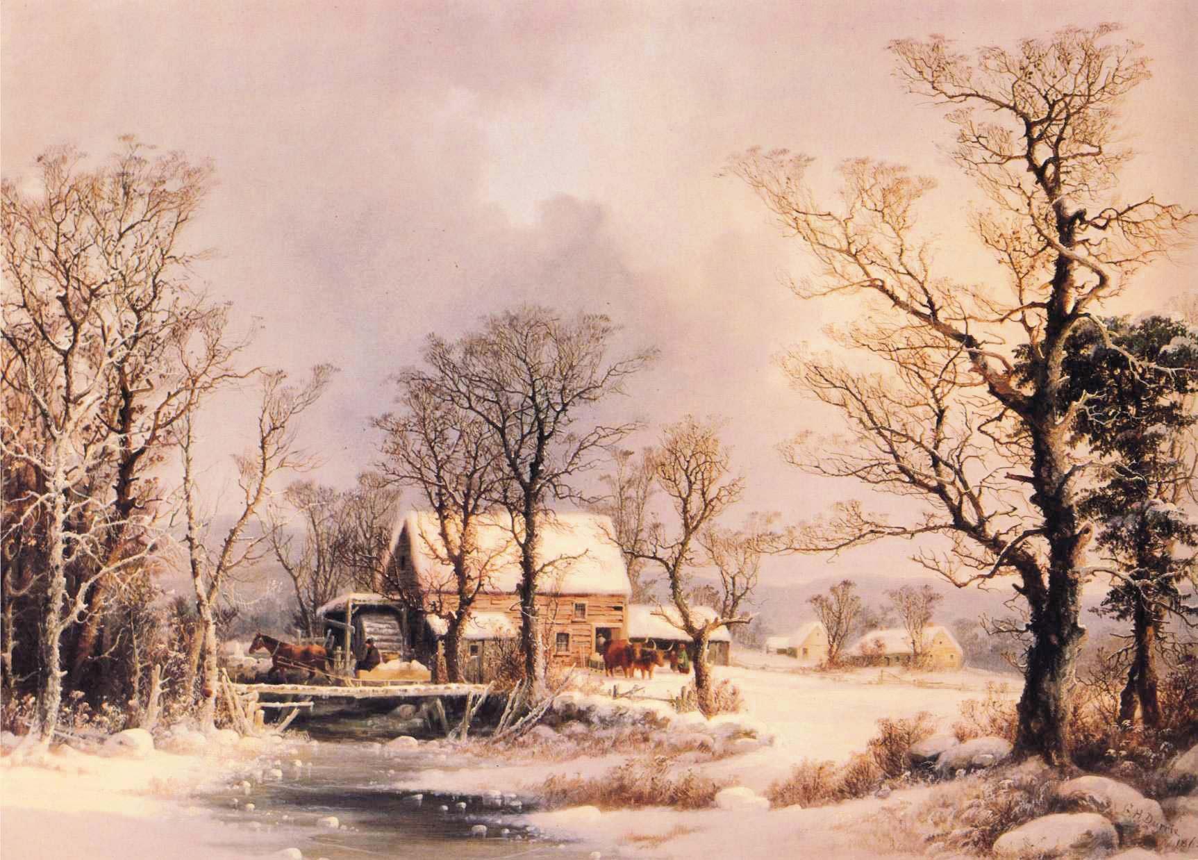 Die Winterromantik ist eine Erfindung der Moderne. Gemälde von George Henrie Durrie © www.pixabay.com