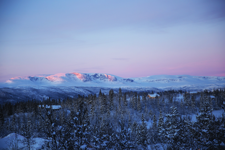 Der Halligskarvet leuchtet in einer Farbskala zwischen violett und rot. Es ist Sonnenaufgang.