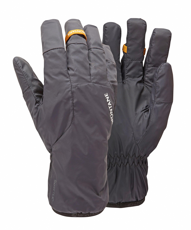 Montane Vortex Glove Die neue Slim-Line Gore-Tex- Membran soll bei Handschuhen für eine bessere Passform und einfacheres Rein- und Rausschlüpfen sorgen. Zusammen mit dem Fleecefutter trägt sich dieser Handschuh superangenehm. Und für einen absolut wasserdichten Handschuh ist das Gewicht von 58 Gramm schlicht sensationell. 69,95 Euro