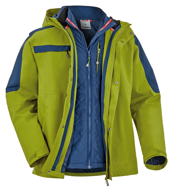 FifetyFive 5-in-1 Jacke Thunder Bay Fünf gewinnt! So viele Möglichkeiten gibt es, diese Jacke zu tragen: wasserdichte Außenjacke, warme Innenjacke oder mit abgetrennten Ärmeln als Weste – und natürlich kombiniert. Da lohnt ein Blick auf die Wettervorhersage. Funktionskapuze, Unterarm-RVs und viele Taschen lassen alle Sorgen verschwinden. 179,90 Euro