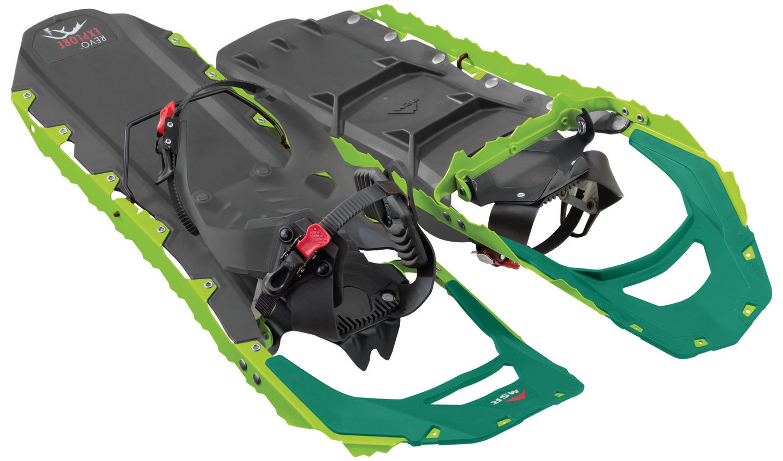 MSR Revo Explore 25 Schneeschuhe Leben auf großem Fuß! Bei Tiefschnee ist das wichtig. Dieser Schneeschuh hat eine Antistollplatte, die zudem für Auftrieb sorgt. Der kantige Rahmen gibt beim Traversieren Halt. Leicht anzulegen und zu lösen durch Ratschenbindung. Bis 100 kg. 239,95 Euro