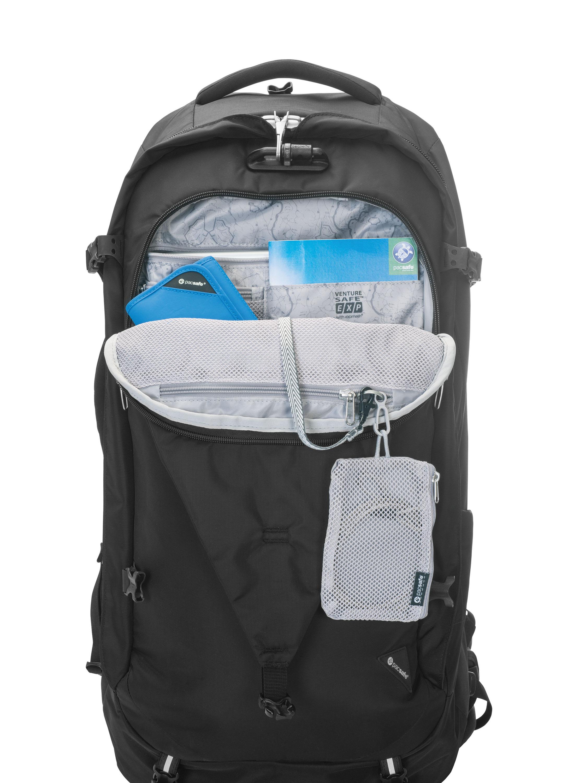 Pacsafe Venture Safe EXP 65 Sicher reisen! Kofferrucksäcke gibt es viele, aber nur einen mit integrierten Sicherheitsaspekten wie schnittfeste Träger, durchstoßfeste RVs, Exo-Mesh-Netz im Material und ein ab- und anschließbares Ankerschloss. Da kann man beruhigter reisen. UVP: 133,90 EUR