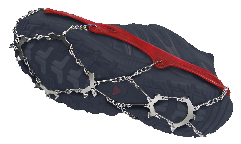 Snowline Chainsen Trail Standfest! Die Winter können mitunter tückisch sein, gerade weil sie vermeintlich mild daherkommen. Kaum ist mal ein Stück vereist, gibt es Probleme. Wer dann die 170 Gramm leichten Spikes aus dem Rucksack ziehen und ruckzuck überstreifen kann, hat gewonnen. Auch ideal für Winterläufer. 39,95 Euro